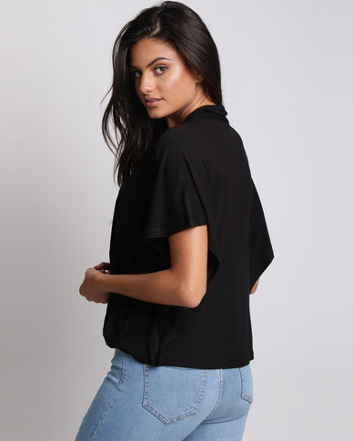 Utopia Batwing Knit Top Black
