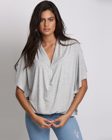 Utopia Batwing Knit Top Grey Melange