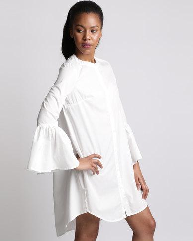Royal T Stunning Bell Sleeve Shirt Dress White