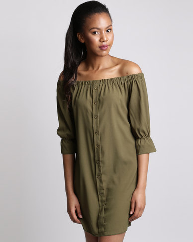 6f1df68c7349 Royal T Off Shoulder Bell Sleeve Dress Khaki