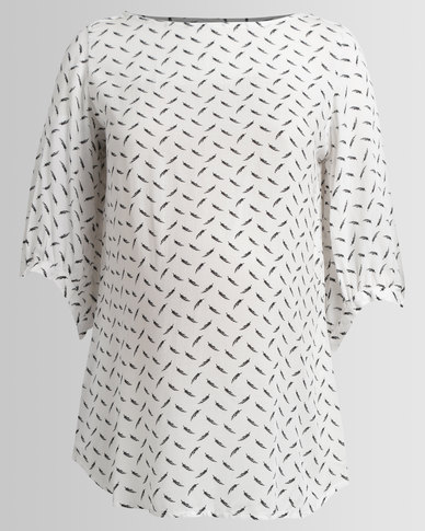 Me-A-Mama Bay Blouse Feather Print White