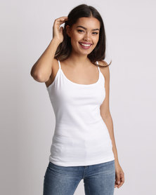 New Look Shoestring Strap Cami Top White