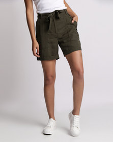 New Look Tie Waist Shorts Khaki