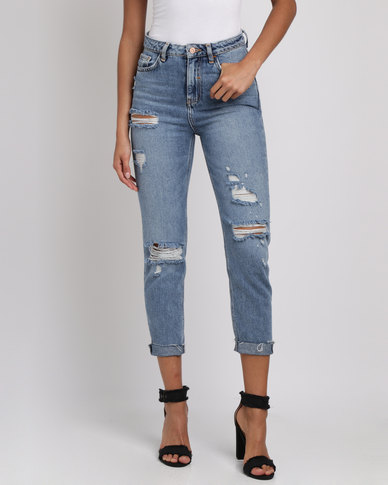 68aa1648263 New Look Ripped Fray Hem Tori Mom Jeans Blue | Zando