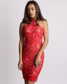 New Look Lace High Neck Bodycon Dress Red