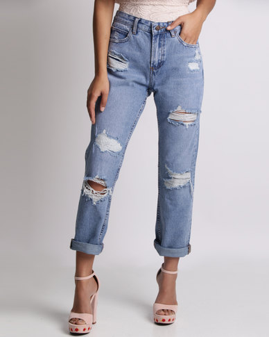 New Look Paceman Extreme Rip Straight Jeans Mid Blue