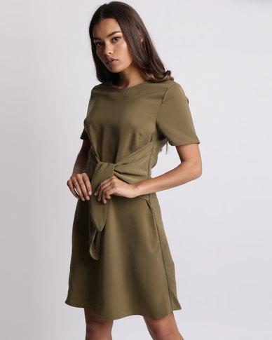 New Look Wrap Front Short Sleeve A-Line Dress Dark Khaki