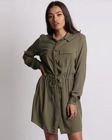 New Look Utility Draw Cord Shirt Dress Khaki