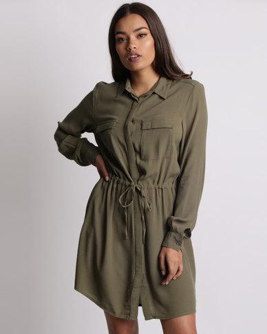 8fc4b6bfe03 New Look Utility Draw Cord Shirt Dress Khaki