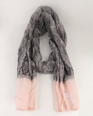 New Look Lace Print Border LL Scarf Grey