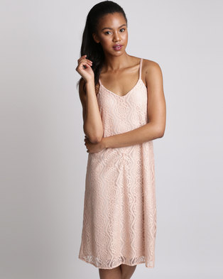 Utopia Lace Racer Back Dress Pink