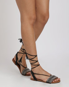 Utopia Tribal Tie Up Sandal Black