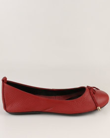 Utopia Bow Trim Full Leather Pump Red