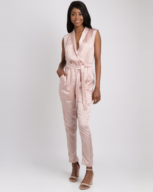 d8abf41edc4 Utopia Washer Satin Wrap Jumpsuit Misty Rose