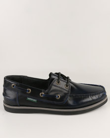 New Port Leather Boat Lace-Up Blue