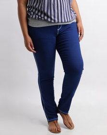 Queenspark Plus Thick Stitch Denim Full Length Jeans Blue