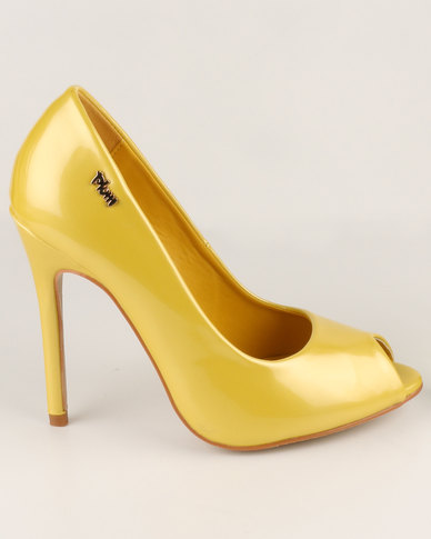 Plum Roxy High Heel Peep Toe Court Shoes Yellow  4270b15c93