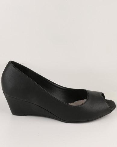 Solle Peep Toe Wedge Black  d22ceaaa8c60