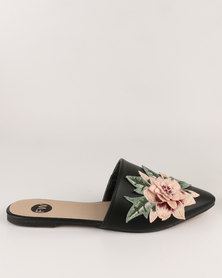 Footwork Asia Embroidered Slip on Shoe Black