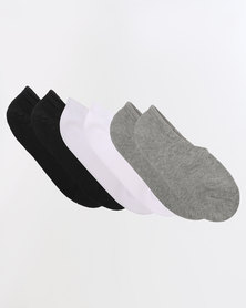 Converse Basic Invisible 3 Pack Socks Multi