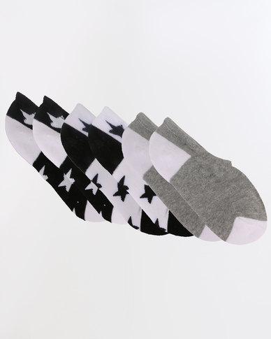 Converse All Over Star Print 3 Pack Socks Black
