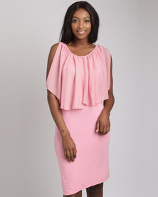 Utopia Bodycon With Chiffon Ruffle Ballet Pink