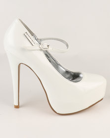 Sissy Boy Sexy Mary Jane Platform Stiletto Courts White