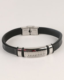 Xcalibur Mens PU With Silver Bar Detail Bracelet Black