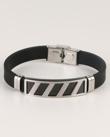 Xcalibur Mens PU With Silver  Bar Detail Bracelet Silver-tone