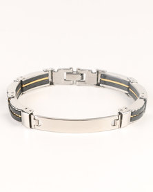 Xcalibur Stainless Steel And Black Bracelet Silver-tone