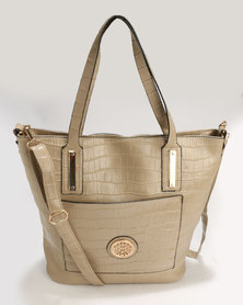 Utopia Embossed Shopper Light Beige