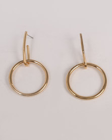 Miss Maxi Round Drop Earrings Gold-tone