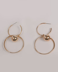 Miss Maxi Round with Ball Drop Earrings Gold-tone