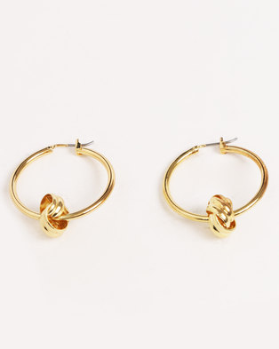 Miss Maxi Round Hoop Earrings Gold-tone