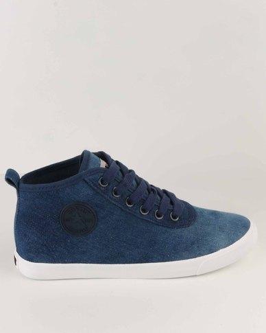 Soviet Callista Hi Mid Cut Canvas/Denim Casual Lace Up Sneaker Blue Denim