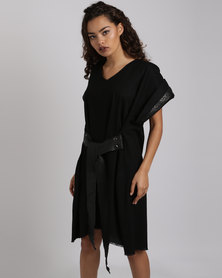 Vintage Zionist Plaited Linen Dress Black