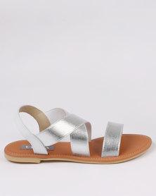 Utopia Cross Strap Elastic Sandal Silver