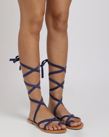 Utopia Leather Tie Up Suede Sandal Blue
