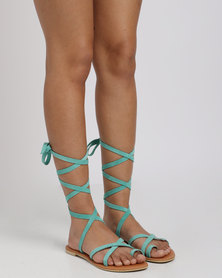 Utopia Leather Tie Up Suede Sandal Green