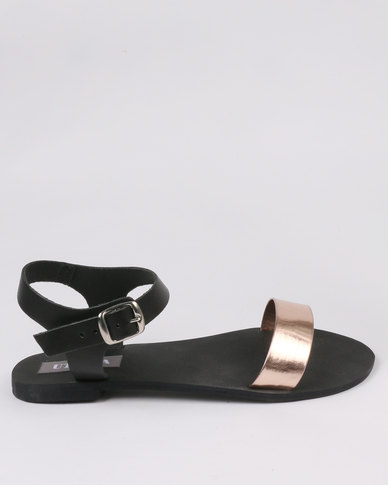 Utopia Leather Flat Sandal Black
