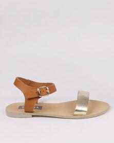 Utopia Leather Flat Sandal Tan