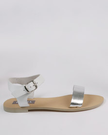 Utopia Leather Flat Sandal White