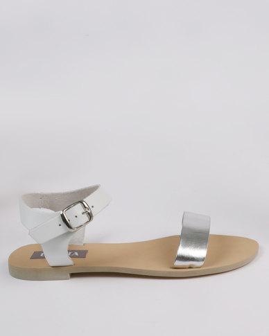 Utopia Leather Flat Sandal White