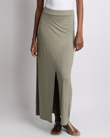 Utopia Wrap Pencil Skirt Olive