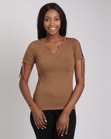 Utopia Burnout Tee With Sleeve Ties Nude