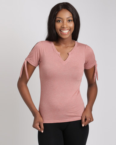 Utopia Burnout Tee With Sleeve Ties Cafe