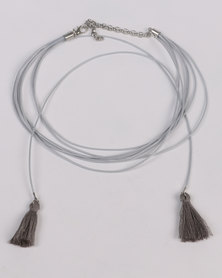 Jewels and Lace Tassel Layer Choker Grey