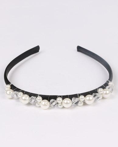 Jewels and Lace Handmade Pearl Rhinestone Alice Band White