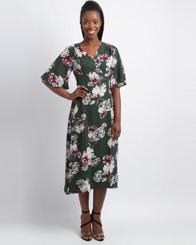 Revenge Floral Wrap Dress Green/ Pink