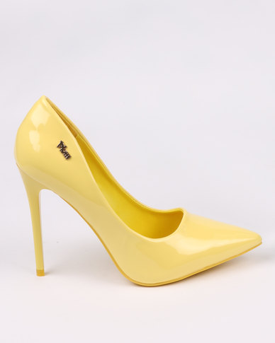 PLUM Gigi High Heeled Court Shoe Patent Lemon Yellow | Zando